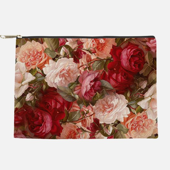 Floral Pink Roses Makeup Pouch
