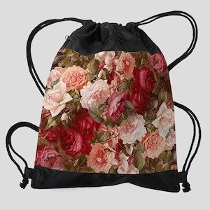 Floral Pink Roses Drawstring Bag