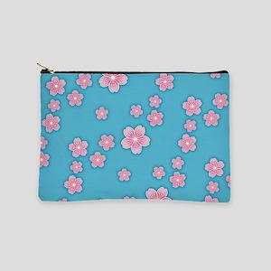 Cherry Blossoms Blue Pattern Makeup Pouch