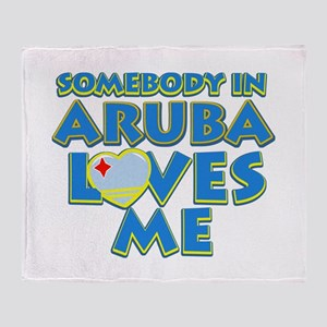 Somebody in Aruba Loves me Throw Blanket
