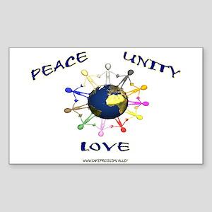 Peace Unity Love Rectangle Sticker