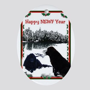 Happy Newf Year Oval Ornament