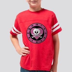 3-Clock Pink Heart Youth Football Shirt