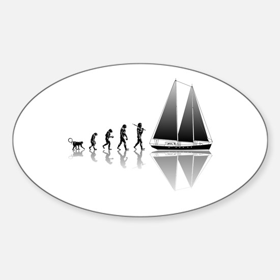 Sailing Evolution Sticker (Oval)
