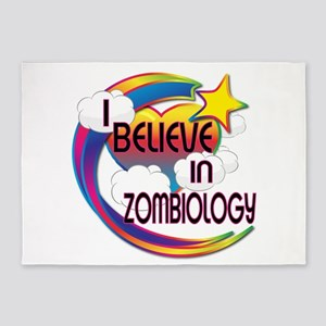 I Believe In Zombiology Cute Believer Design 5'x7'