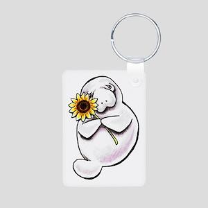 Sunny Manatee Aluminum Photo Keychain