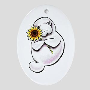 Sunny Manatee Ornament (Oval)