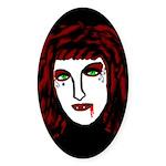 Dark Vampire Oval Sticker