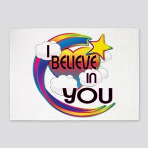 I Believe In You Cute Believer Design 5'x7'Area Ru