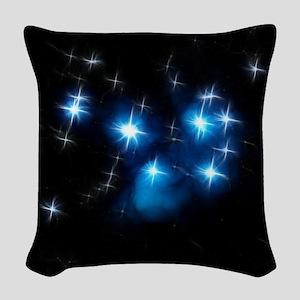 Pleiades Blue Star Cluster Woven Throw Pillow