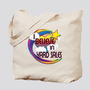 I Believe In Yard Sales Cute Believer Design Tote