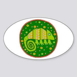 Colorful Chameleon Oval Sticker