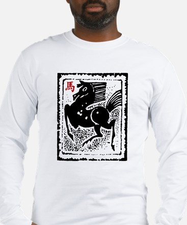 Chinese Zodiac Horse Artistic Design Long Sleeve T
