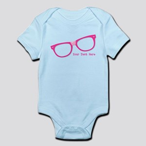 Pink Nerd Glasses Personalized Infant Bodysuit