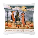 Halloween Dachshunds Woven Throw Pillow