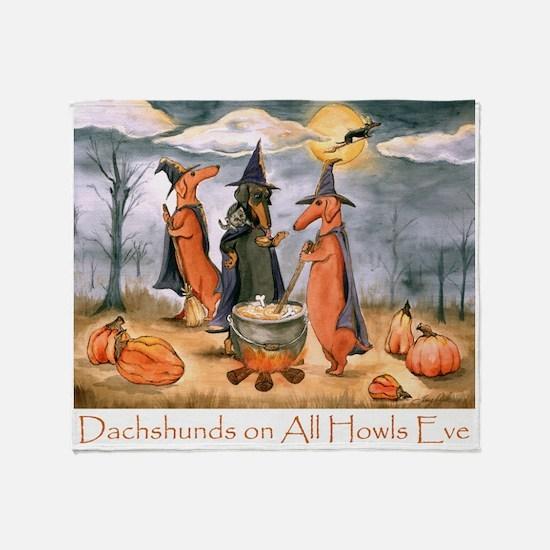 Halloween Dachshunds Throw Blanket
