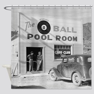 The Eight Ball Pool Room Shower Curtain