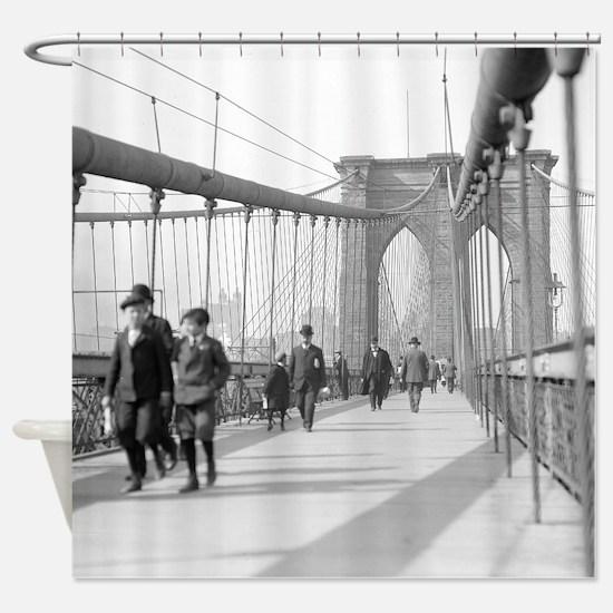 Brooklyn Bridge Pedestrians Shower Curtain