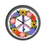 Floral Peace SignVT.png Wall Clock