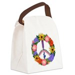 Floral Peace SignVT Canvas Lunch Bag