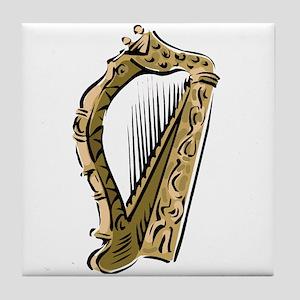 ornate harp image musical instrument Tile Coaster