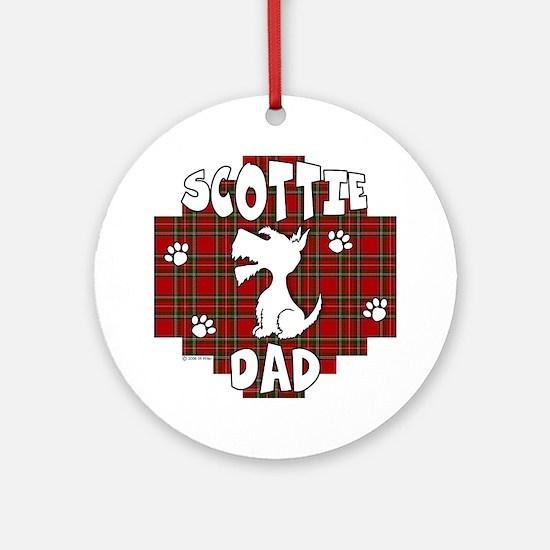 Scottie Dad (Stewart Plaid) Ornament (Round)