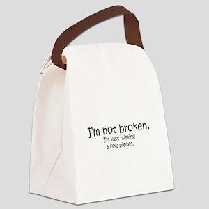 Not Broken - Dark Writing Canvas Lunch Bag