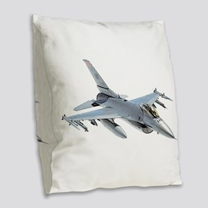 F-16 Fighting Falcon Burlap Throw Pillow