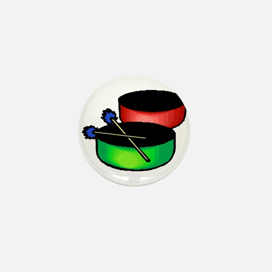 steel pan drums red green Mini Button