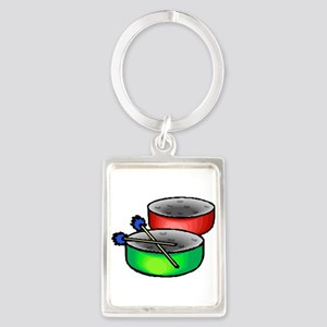 steel pan drums red green Keychains