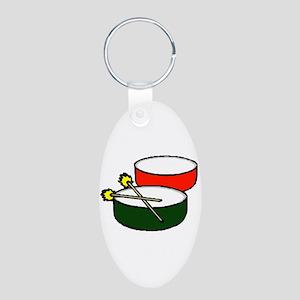 steel pan drums red green y Keychains