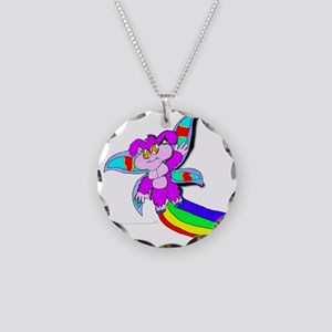 Cute Flying Creature Necklace Circle Charm