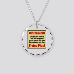 Citizen Alert! Flying Pigs! Necklace Circle Charm