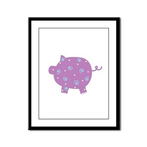 Swirly Pig Framed Panel Print