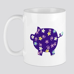 Swirly Flower Pig Mug