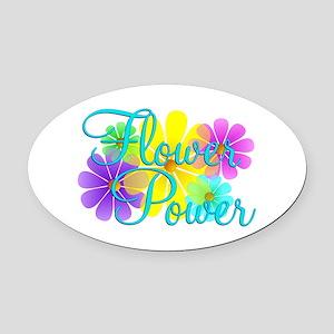 Flower Power Oval Car Magnet