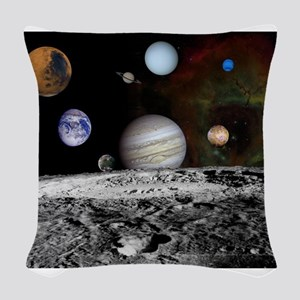 Solar System Montage Woven Throw Pillow