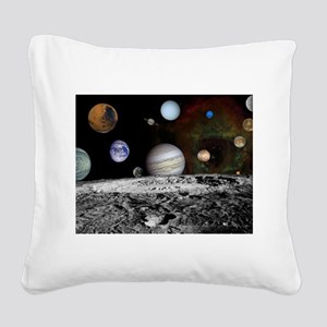Solar System Montage Square Canvas Pillow