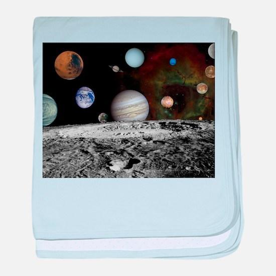 Solar System Montage baby blanket