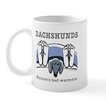 Dachshund bedwarmers (black doxie) Mug