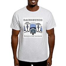Dachshund bedwarmers (black doxie) Light T-Shirt