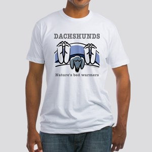 Dachshund bedwarmers (black doxie) Fitted T-Shirt