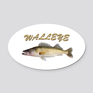 Golden Walleye Oval Car Magnet