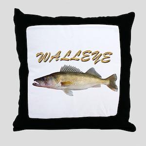 Golden Walleye Throw Pillow
