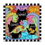 Colorful Fish & Cats Tile Coaster