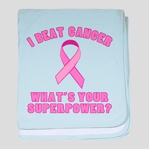 I Beat Cancer Superpower baby blanket