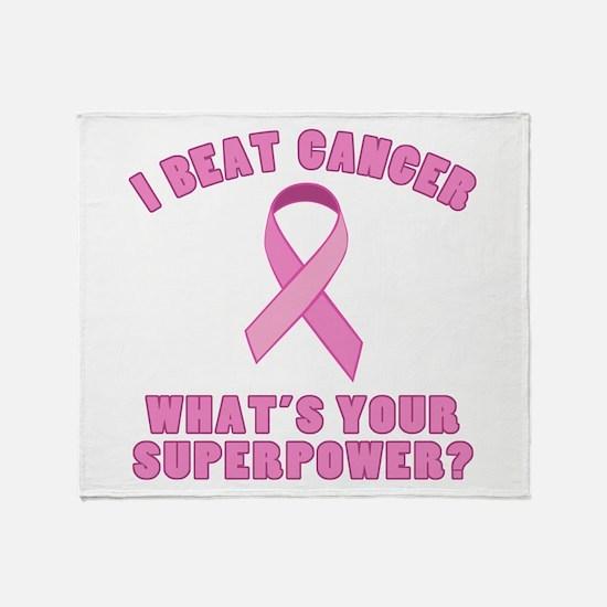 I Beat Cancer Superpower Throw Blanket