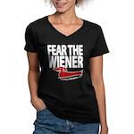 Fear the Wiener Women's V-Neck Dark T-Shirt