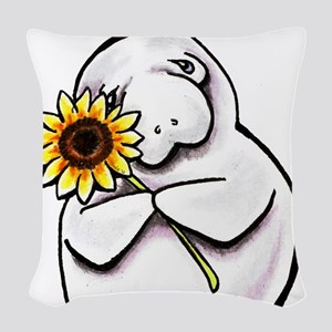 Sunny Manatee Woven Throw Pillow