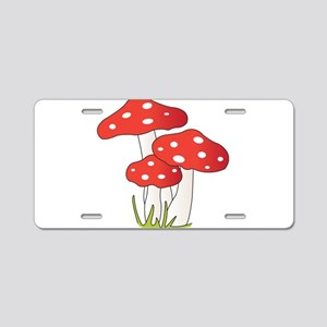 Polka Dot Mushrooms Aluminum License Plate